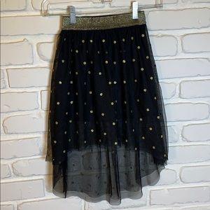 Girls Black and Gold Polka Dot Skirt